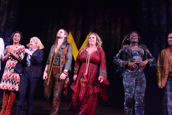 The Cast of Scotland, Pa. that includes Jeb Bron, Jay Armstrong Johnson Taylor Iman Jones, Lacretta, Megan Lawrence, Ryan McCartan, Will Meyers, Wong Ogunfowara, David Rossmer, Alysha Umphress and Kaleb Wells take opening night bows