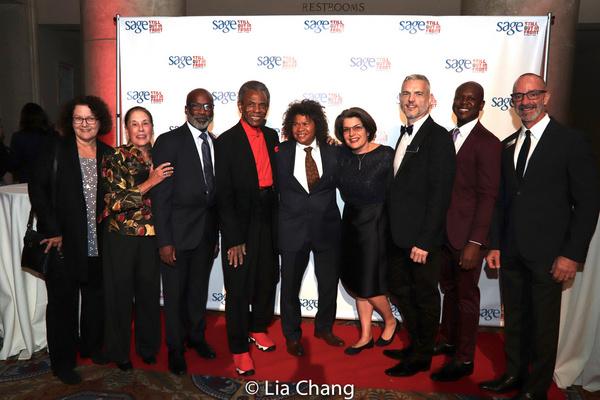 Andre De Shields is flanked by SAGE Board Members Barbara Peda, Mady Schuman, Doug Ha Photo