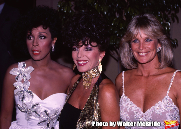 Diahann Carroll, Linda Evans, and Joan Collins at the Emmy Awards, September 23, 1984