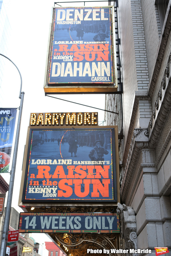 Theatre Marquee installation of Broadway's 'A Raisin In The Sun' starring Denzel Wash Photo