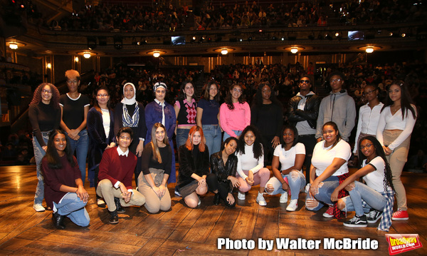 "Student performers during the eduHAM Q & A before The Rockefeller Foundation and The Gilder Lehrman Institute of American History sponsored High School student #EduHam matinee performance of ""Hamilton"" at the Richard Rodgers Theatre on October 30, 2019 in New York City."