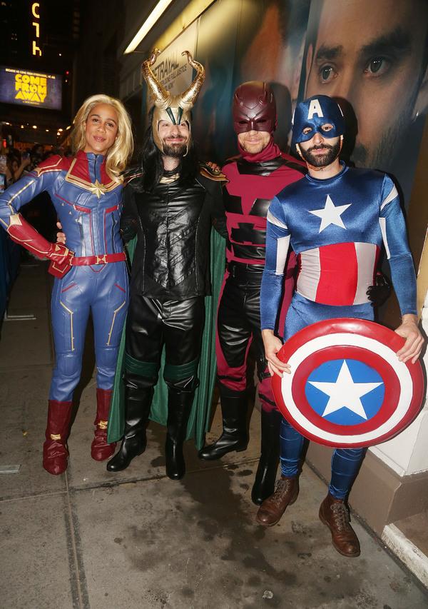 "Zawe Ashton as ""Captain Marvel"", Charlie Cox as ""Loki"", Tom Hiddleston as ""Daredevil"" Photo"