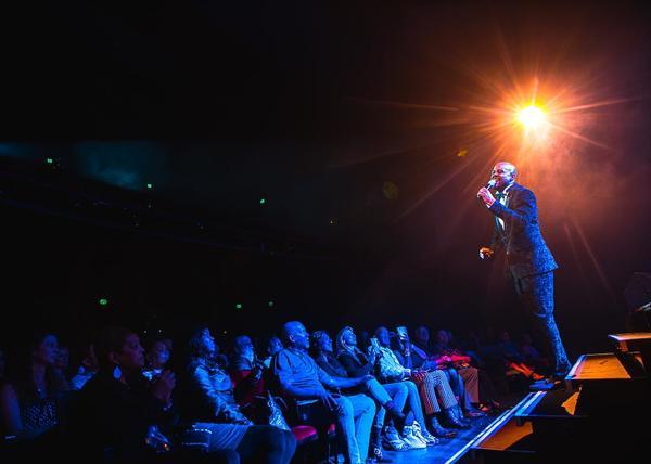 Terron Brooks Sings to Audience Photo