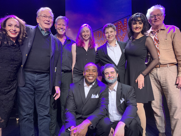Bob Mackie and Jack Viertel and the cast of Forbidden Broadway: The Next Generation. Photo