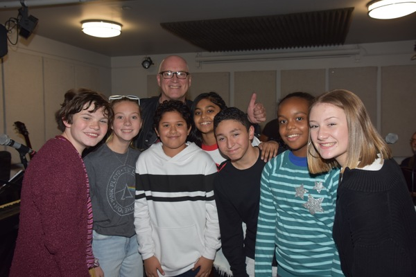 Donnie Kehr with The young rockers of broadway that includes-Sway Bhatia, Timothy Foley, Nyla Jones, Matteo Russo, Myles Santiago and Isabelle Gottfried