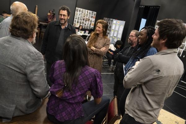 Director Oskar Eustis, playwright Tony Kushner, and the company  Photo