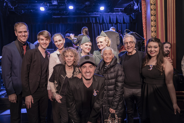 Over Here! leading cast with the shows original creators: (L-R) Blake Allen( Musical Director), Mark William, Nikka Graff Lanzarone, Carrie Robbins( original costume designer), Jessica Hendy, Will Nunziata, Haley Swindal, Patricia Birch (original choreographer), Ken Waissman ( original producer), Dani Apple