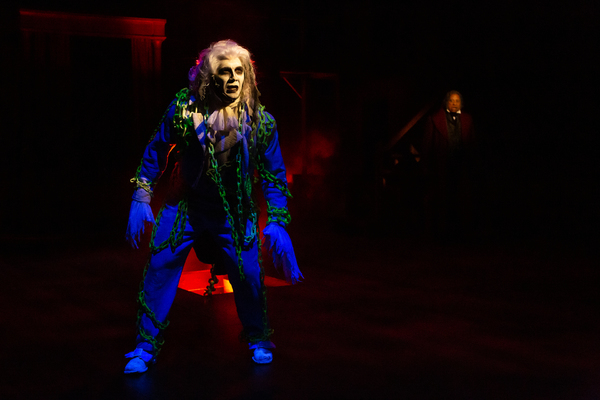 David Matranga as Jacob Marley and David Rainey as Scrooge Photo
