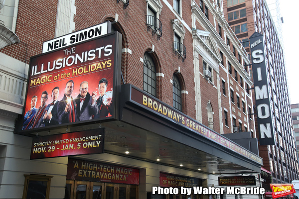 "Theatre Marquee unveiling for  ""The Illusionists - Magic of the Holidays"" at the Neil Simon Theatre on November 19, 2019 in New York City."
