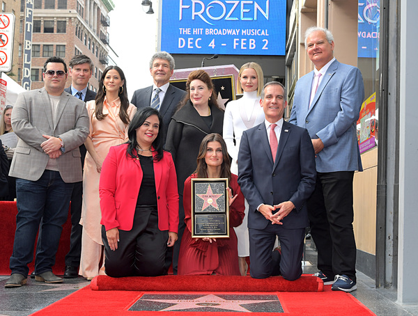 Josh Gad, Michael Schur, Jackie Tohn, Co-Chairman and Chief Creative Officer of The Walt Disney Studios Alan Horn, President and Founder, Hollywood Museum, Donelle Dadigan, Kristen Bell and President and CEO, Hollywood Hotel, Jeff Zarrinnam, Hollywood Chamber of Commerce, President/CEO Rana Ghadban, Idina Menzel and Mayor of Los Angeles Eric Garcetti