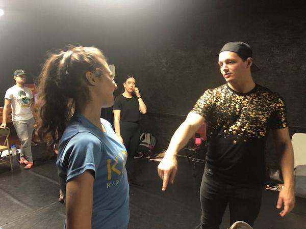 Choreographer Daniel Gold giving Lexi Rosenblum tap tips at dance rehearsal for Off-B Photo