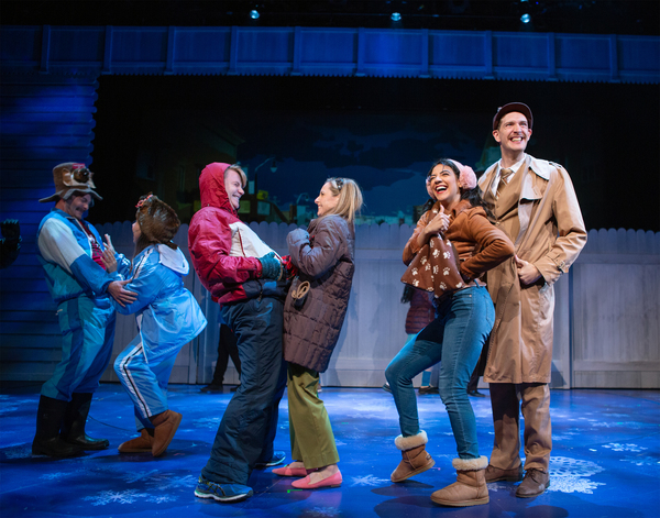 The residents of Punxsutawney, PA, are excited about Groundhog Day. Featuring (l-r): Michael Motroni, Danielle Philapil, Cameron La Brie, Larissa Kelloway, Sophia Introna*, and Dean Linnard*.