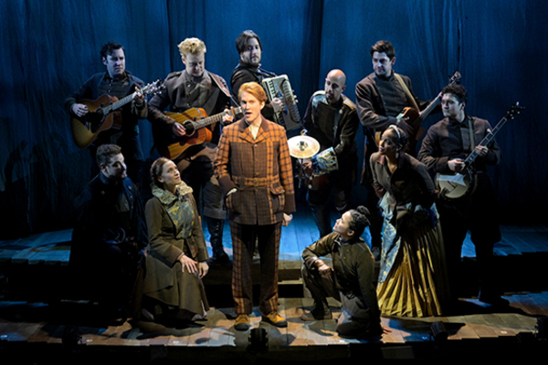 Front row (l to r) John Rapson (Roscuro), Betsy Morgan (Queen Rosemary), Ryan Melia (Librarian), Dorcas Leung (Despereaux), and Yasmeen Sulieman (Princess Pea) Back row (l to r) Ben Ferguson (Furlough), Matt Nuernberger (Botticelli), Dan Weschler (Stained-Glass Knight), Arya Shahi (King Phillip), Curtis Gillen (Most High Head Mouse), and Alex Falberg (Lester)