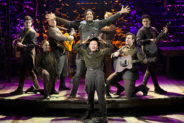 (front) Dorcas Leung (Despereaux) and Dan Weschler (Stained-Glass Knight) with (back l to r) Curtis Gillen (Most High Head Mouse), Betsy Morgan (Antoinette), Matt Nuernberger (Botticelli), Ryan Melia (Librarian), Ben Ferguson (Furlough), and Alex Falberg (Lester)