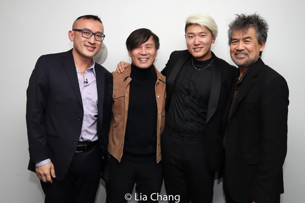 M. BUTTERFLY composer Huang Ruo (left) and librettist David Henry Hwang (right) with BD Wong, recipient of the Tony Award for his portrayal of Song Liling in the Broadway production, and the counterte