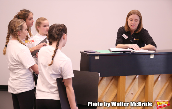 Christine Riley and The Camp Broadway Kids Ensemble in rehearsal  Photo