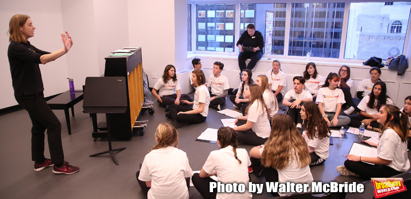Christine Riley and Julianne Merrill with The Camp Broadway Kids Ensemble in rehearsa Photo