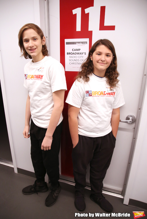 Frankie Lane and Lenny Lane from The Camp Broadway Kids Ensemble in rehearsal