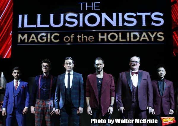 "Dom Chambers (The Showman), Chris Cox (The Mentalist), Paul Dabek (The Trickster), Enzo Weyne (The Unforgettable), Kevin James (The Inventor) and Eric Chien (The Manipulator)  during a press preview of ""The Illusionists - Magic of the Holidays"" at the Neil Simon Theatre on December 3, 2019 in New York City."