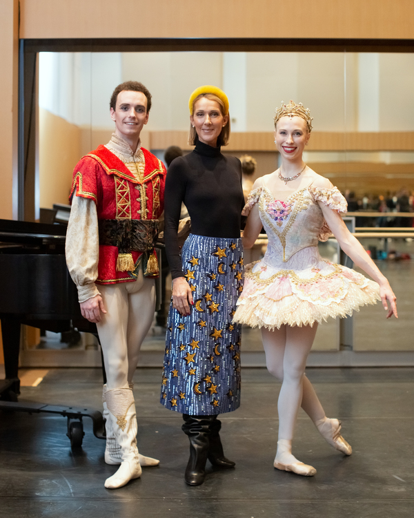 Celine Dion with First Soloist Jack Bertinshaw and Second Soloist Calley Skalnik of T Photo