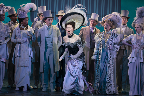 (center) Sam Simahk as Freddy Eynsford-Hill, Shereen Ahmed as Eliza Doolittle, Kevin Pariseau as Colonel Pickering and Leslie Alexander as Mrs. Higgins in The Lincoln Center Theater Production of Lerner & Loewe's MY FAIR LADY