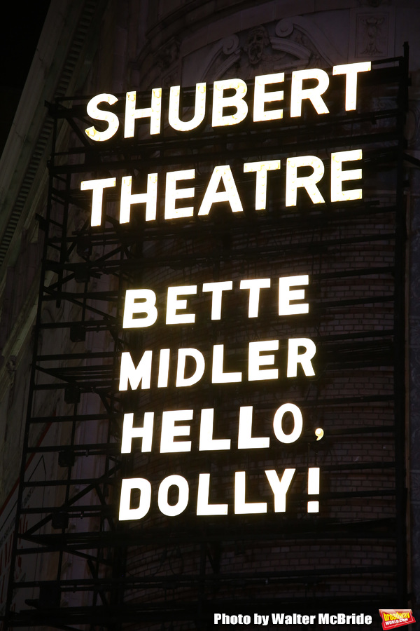 Theatre Marquee  for the  forthcoming Broadway revival of Michael Stewart and Jerry Herman's 'Hello, Dolly!' starring Bette Midler  at the Shubert Theatre on January 5, 2017 in New York City.