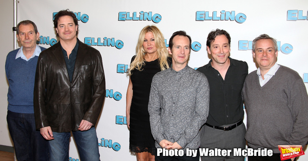"Richard Easton, Brendan Fraser, Jennifer Coolidge, Denis O'Hare, Jeremy Shamos and Doug Hughes attending the Meet & Greet the cast of ""ELLING""  on  October 19, 2010 at the Ballet Tech Rehearsal Studios in New York City. The play will open on November 21, 2010 at the Barrymore Theatre."