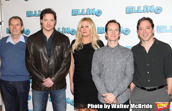 "Richard Easton, Brendan Fraser, Jennifer Coolidge, Denis O'Hare and Jeremy Shamos attending the Meet & Greet the cast of ""ELLING""  on  October 19, 2010 at the Ballet Tech Rehearsal Studios in New York City. The play will open on November 21, 2010 at the Barrymore Theatre."