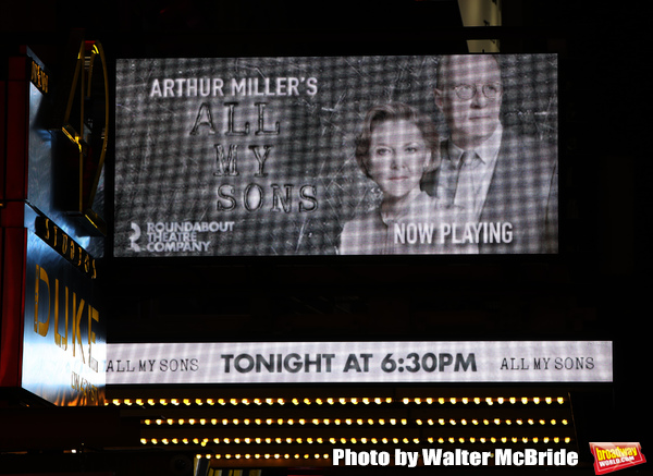"Theatre Marquee for Arthur Miller's ""All My Sons"" starring Annette Benning and Tracy Letts at The American Airlines Theatre on April 22, 2019  in New York City."