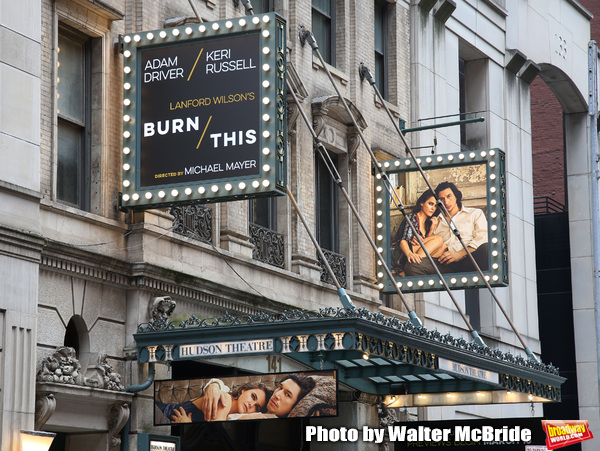 """Burn/This"" starring Adam Driver and Keri Russell Theatre Marquee at the Hudson Theat Photo"