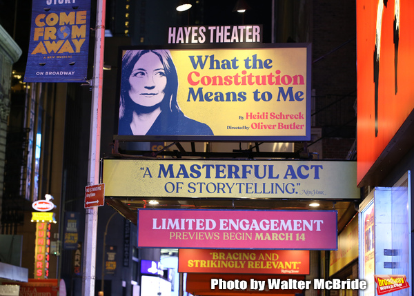 """Theatre Marquee for the Broadway Opening Night Performance of  """"What The Constitution Photo"""