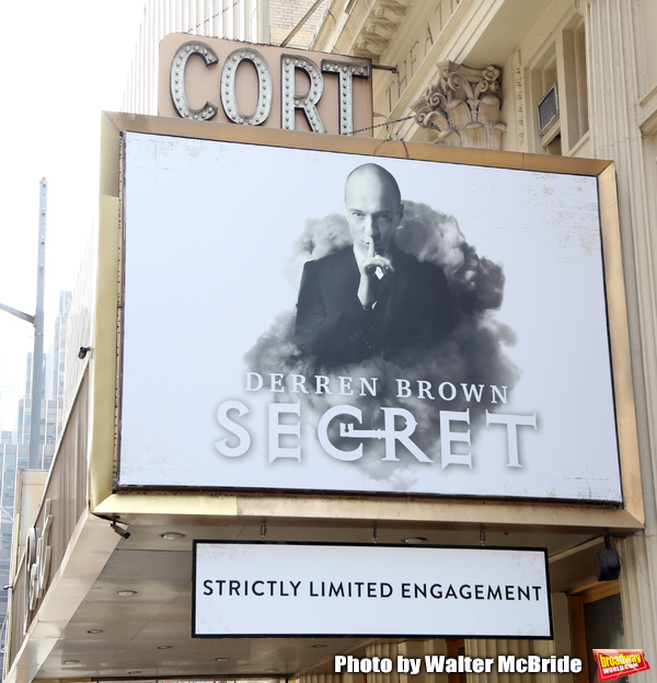 "Theatre Marquee unveiling for ""Derren Brown: Secret"" on September 11, 2019 at the Cor Photo"
