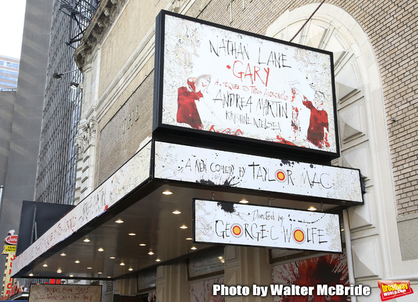 "Theatre Marquee unveiling for the Taylor Mac Comedy ""Gary: A Sequel to Titus Andronicus"" starring Nathan Lane and Andrea Martin with direction by George C. Wolfe at the Booth Theatre on February 8, 2019 in New York City."