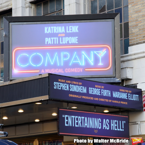 "Theatre Marquee unveiling for ""Company"" starring Katrina Link and Patti LuPone at the Photo"
