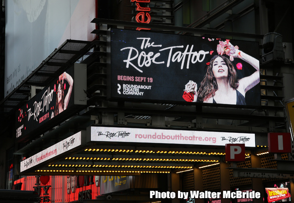 """Theatre Marquee for """"The Rose Tattoo"""" starring Marisa Tomei at The American Airlines  Photo"""