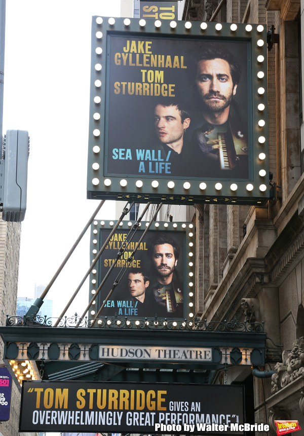 "Theatre Marquee unveiling for ""Sea Wall / A Life"" starring Jake Gyllenhaal and Tom Sturridge at the Hudson Theatre Theatre on July 23, 2019 in New York City."