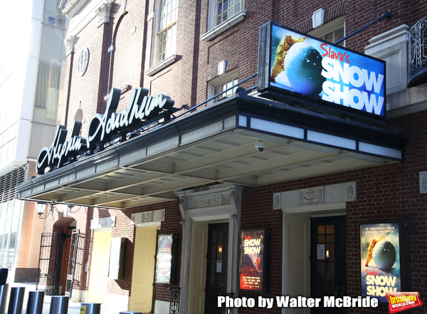 "Theatre Marquee unveiling for ""Slava's Snow Show"" at the Stephen Sondheim Theatre on  Photo"