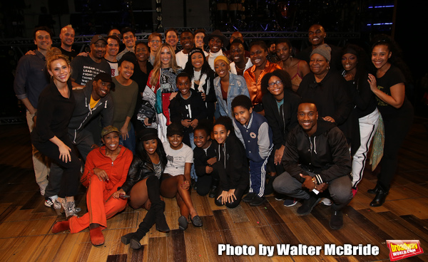 "Katie Webber, Adrienne Warren and Daniel J. Watts with cast during the ""Tina - The Ti Photo"