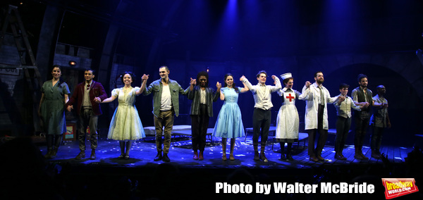 Zachary Infante, Catherine Ricafort, Wesley Taylor, Nkeki Obi-Melekwe, Molly Gordon, Colton Ryan, Grace McLean, Andrew Kober, Noah Gavin, Heath Saunders, Zachary Downer with cast during the opening night performance curtain call bows for the MCC Theater's 'Alice By Heart' at The Robert W. Wilson Theater Space on February 26, 2019 in New York City.