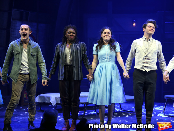 Wesley Taylor, Nkeki Obi-Melekwe, Molly Gordon and Colton Ryan during the opening night performance curtain call bows for the MCC Theater's 'Alice By Heart' at The Robert W. Wilson Theater Space on February 26, 2019 in New York City.