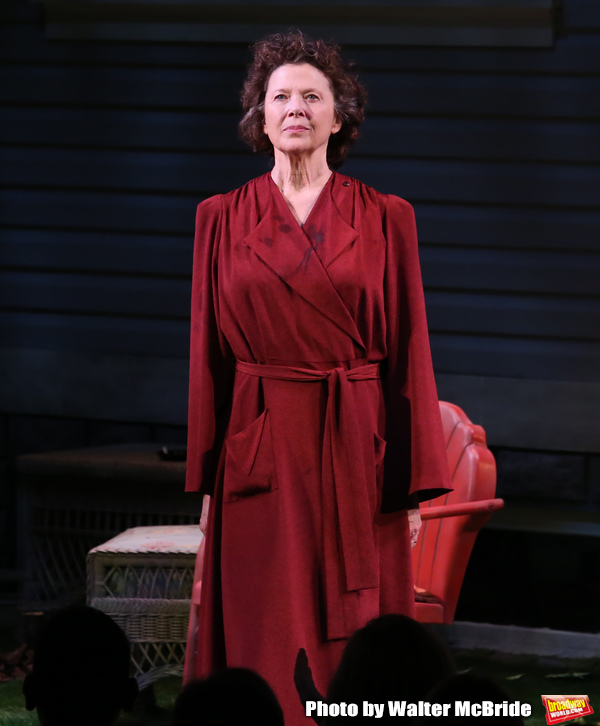 "Annette Benning during the Broadway Opening Night Curtain Call for ""All My Sons"" at The American Airlines Theatre on April 22, 2019  in New York City."