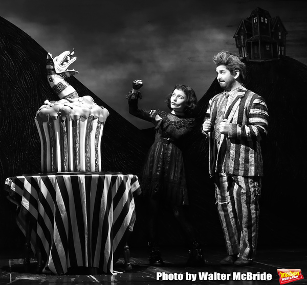 "Sophia Anne Caruso and Alex Brightman during the ""Beetlejuice"" Celebrates 100th Performance on Broadway with Big Sandy the Sandworm, Shrunken Head Guy and a cake designed by Carlo's Bakery at the Winter Garden Theatre on July 23, 2019 in New York City."