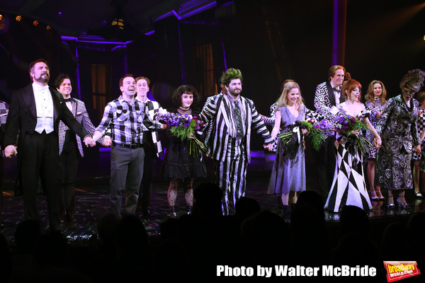 """Adam Dannheisser, Rob McClure, Sophia Anne Caruso, Alex Brightman, Kerry Butler, Leslie Kritzer and Jill Abramovitz during the Broadway Opening Night Performance Curtain Call for """"Beetlejuice"""" at The Winter Garden on April 25, 2019 in New York City."""