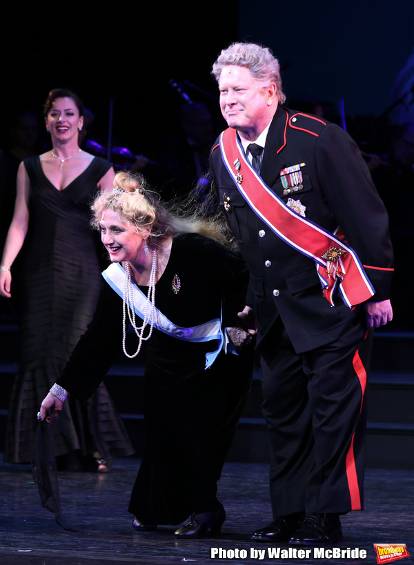 "Carol Kane and Darrell Hammond during the Curtain Call for the closing Night performance of  Encores! ""Call Me Madam"" at City Center on February 10, 2019 in New York City."
