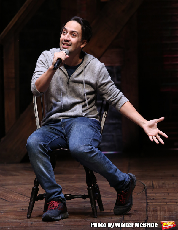 "Lin-Manuel Miranda makes a surprise appearance during a Q & A before The Rockefeller Foundation and The Gilder Lehrman Institute of American History sponsored High School student #EduHam matinee performance of ""Hamilton"" at the Richard Rodgers Theatre on 3/20/2019 in New York City."