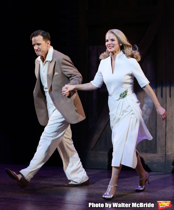 "Will Chase and Kelli O'Hara during the Broadway Opening Night Curtain Call for ""Kiss Me, Kate""  at Studio 54 on March 14, 2019 in New York City."
