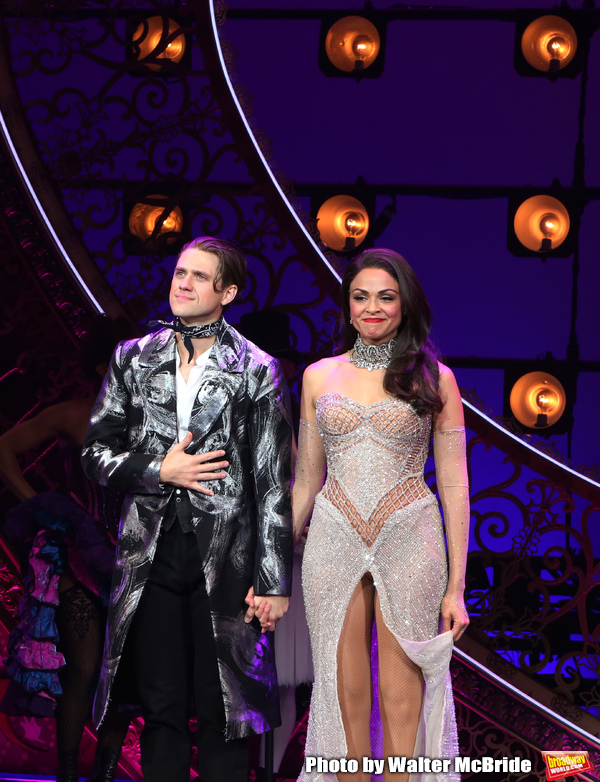 Aaron Tveit and Karen Olivo during the Broadway Opening Night performance Curtain Cal Photo
