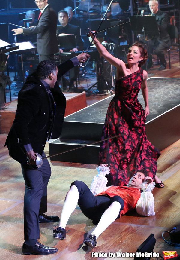 "Norm Lewis, Tony Yazbeck and Laura Osnes performing during the MCP Production of ""The Photo"