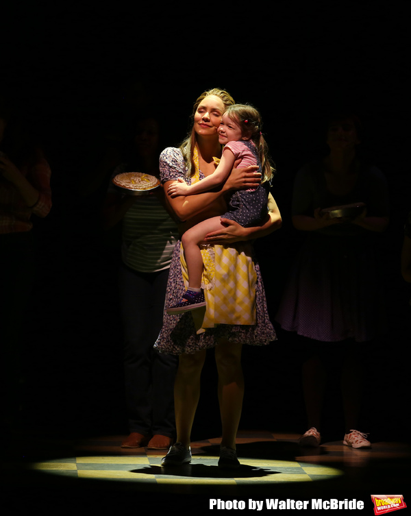 """Katharine McPhee and Delaney Quinn during her curtain call bows as she returns to """"Wa Photo"""