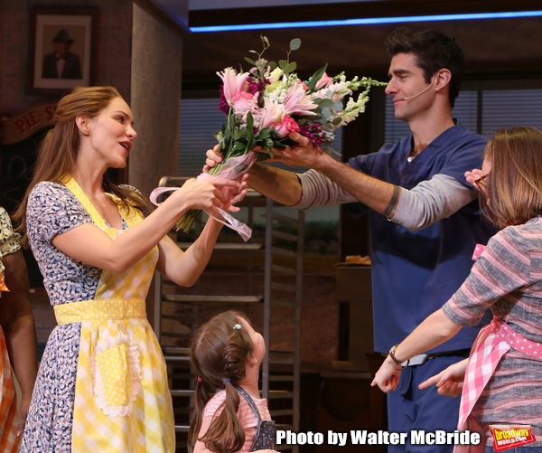 Katharine McPhee and Drew Gehling with cast during her curtain call bows as she retur Photo